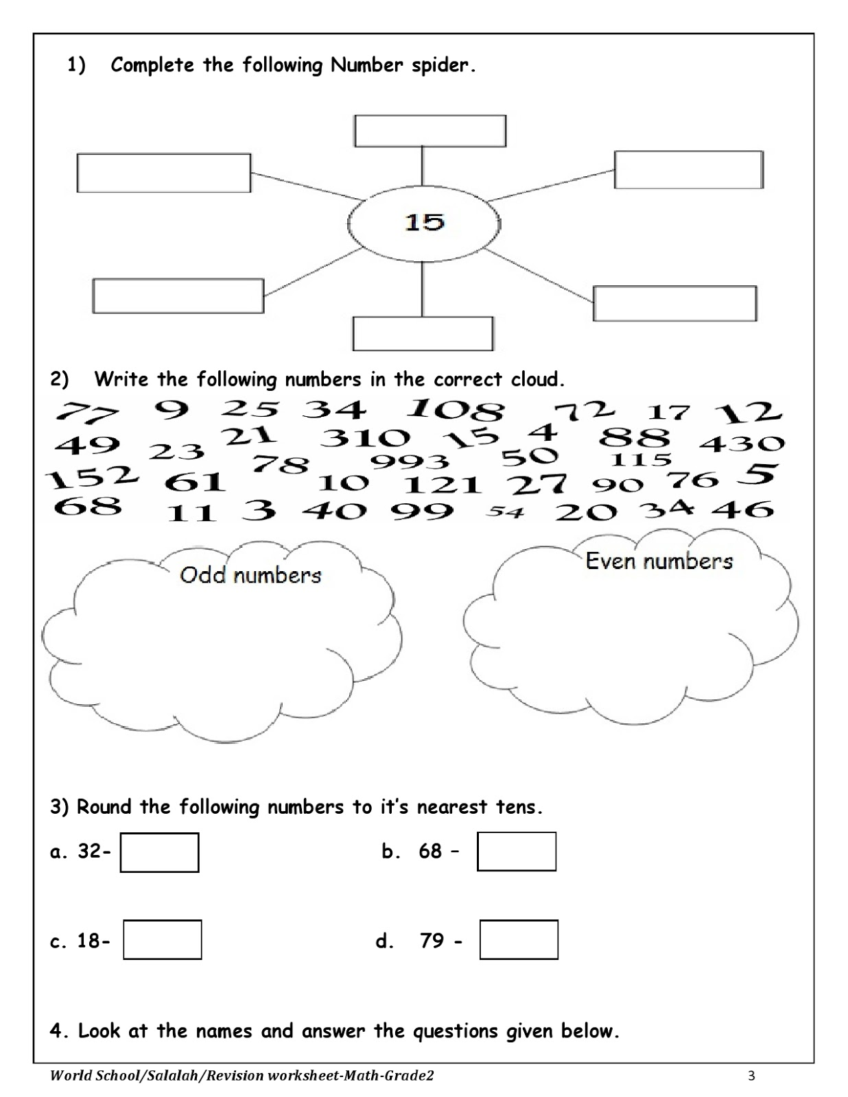 Birla World School Oman Revision Work For Grade 2