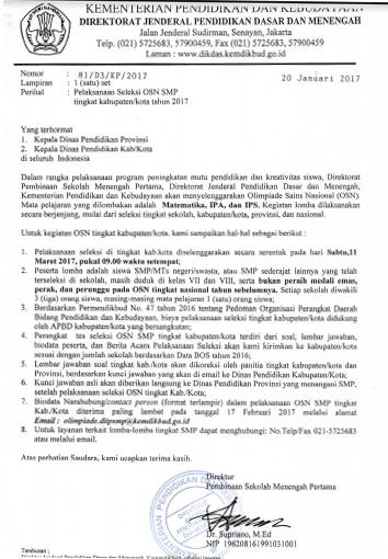 Jadwal Pelaksanaan Seleksi Osn Di Tingkat Kabupaten Kota Tahun 2017 Blog Om Jhon