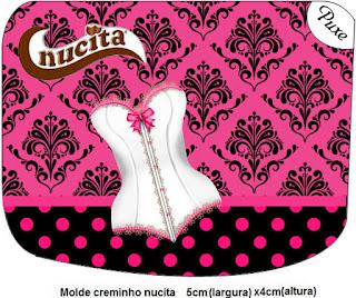 Etiqueta Nucita para Imprimir Gratis de Lencería en Rosa.