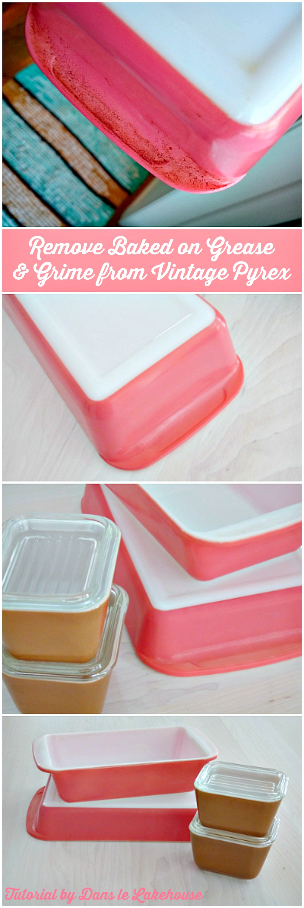 How to Clean Baked on Grease and Grime from Vintage Pyrex Bake Ware with Oven Cleaner