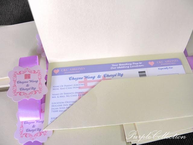 Purple & White Boarding Pass Wedding Card, Purple, White, Boarding Pass Wedding Card, Boarding Pass, Wedding Card, Card, Invitation, Cheryl Ng, Cheyne Wong, Double Hapiness