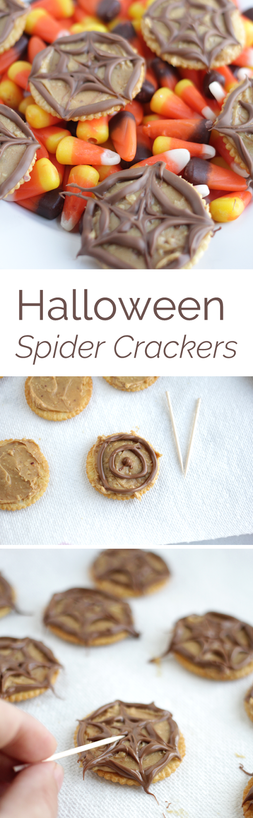 This simple step by step tutorial shows you how to make an easy Halloween snack of chocolate peanut butter spider crackers.