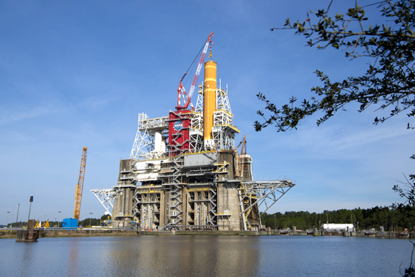 The Space Launch System's core stage booster is installed atop the B-2 Test Stand at NASA's Stennis Space Center in Bay St. Louis, Mississippi...back in early January.