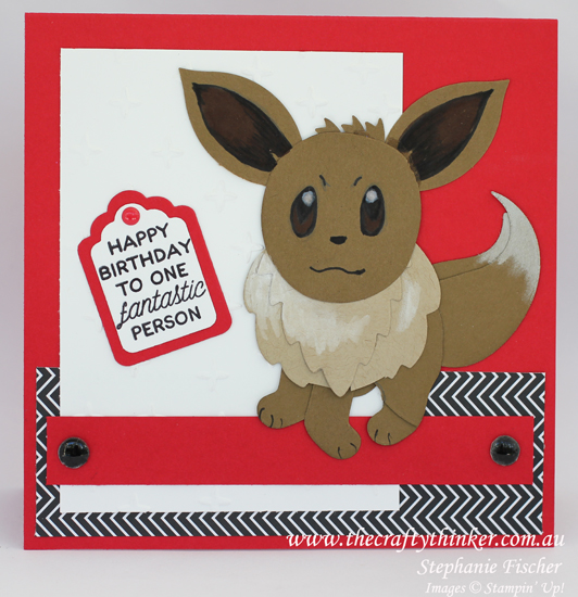 Stampin Up, #thecraftythinker.com.au, Punch art Pokemon, Eevee, boy birthday card, punch art, Stampin Up Australia Demonstrator