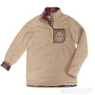women's personalized plaid sherpa pullover