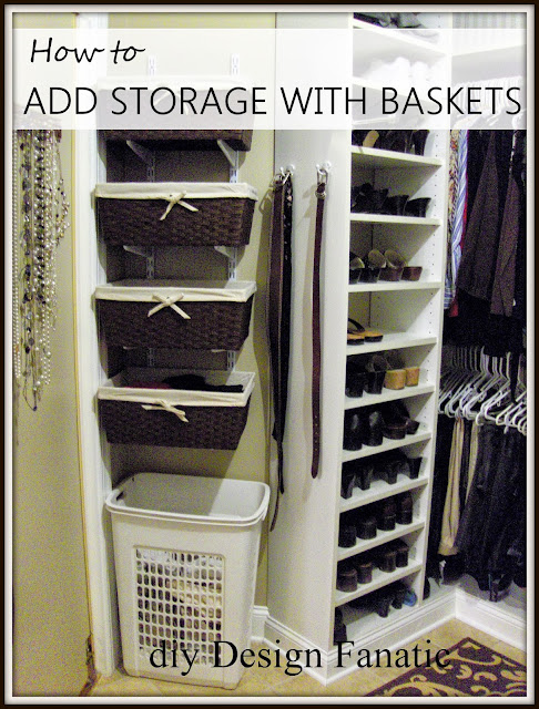 track bracket, baskets, master closet, organization, storage shelves, add space to your closet