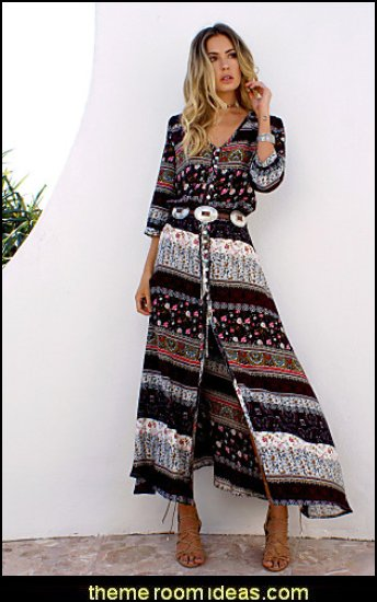 Women's Beach Holiday Boho A Line Dress, Print V Neck Maxi Long Sleeves Cotton Summer dresss