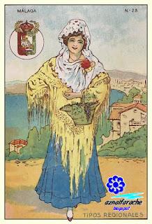 Traje típico de Málaga - Tipos regionales - Cromos primera mitad siglo XX