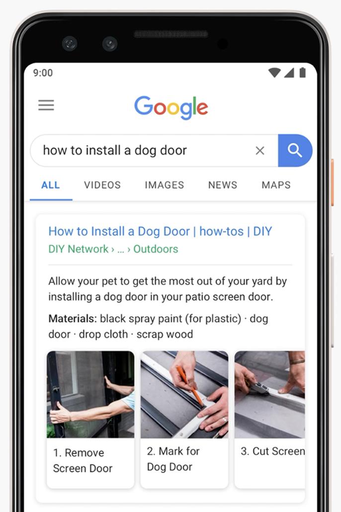 Captura de tela da Pesquisa para dispositivos móveis mostrando como instalar uma porta para cães