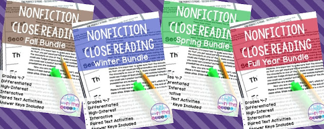 Paid close reading seasonal bundle products