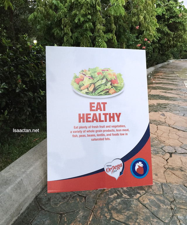 Interesting reminder health posters were placed along the route