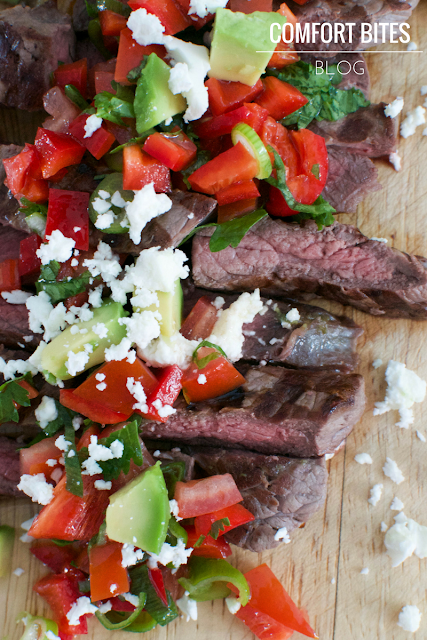 Brazilian Picanha Steak with Red Pepper Salsa and Feta Low Carb