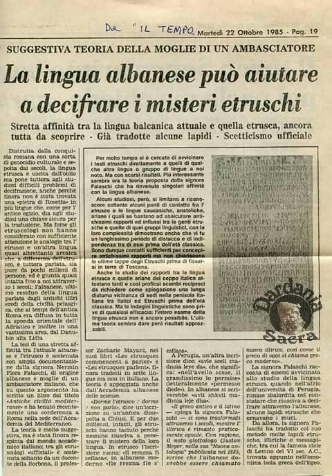 """La lingua albanese può aiutare a decifrare i misteri etruschi (giornale """"IL TEMPO"""" - anno 1985)"""