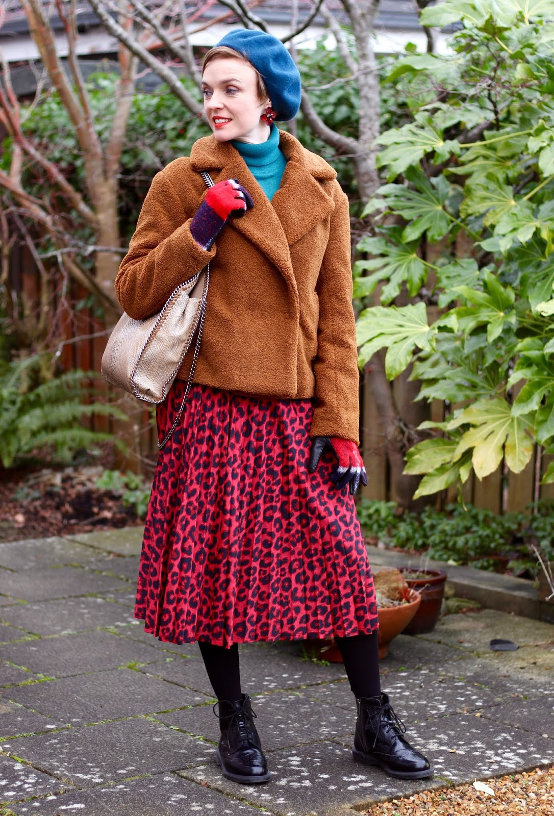 Brown teddy Jacket and red leopard skirt | Fake Fabulous | Winter Outfit
