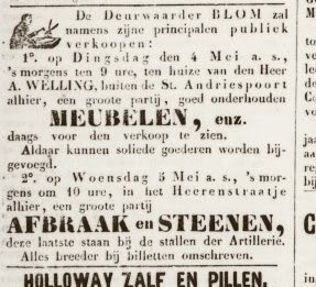 Advertentie in de Amersfootsche Courant van 27-04-1869