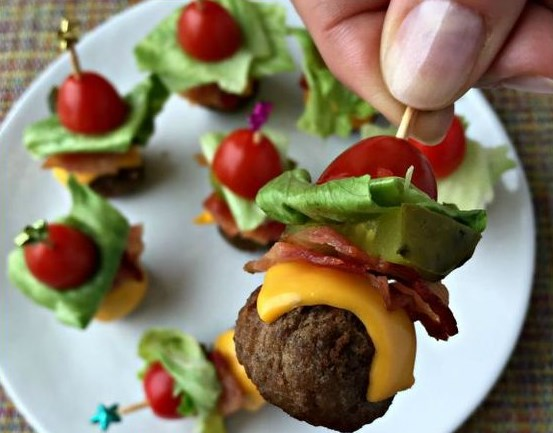 BACON CHEESEBURGER MEATBALLS #Meatballs #Bacon