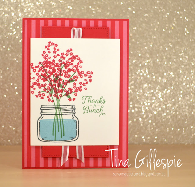 scissorspapercard, Stampin' Up!, CASEing The Catty, Jar Of Love, Beautiful Bouquet, Stitched Shapes Framelits, In Colour DSP