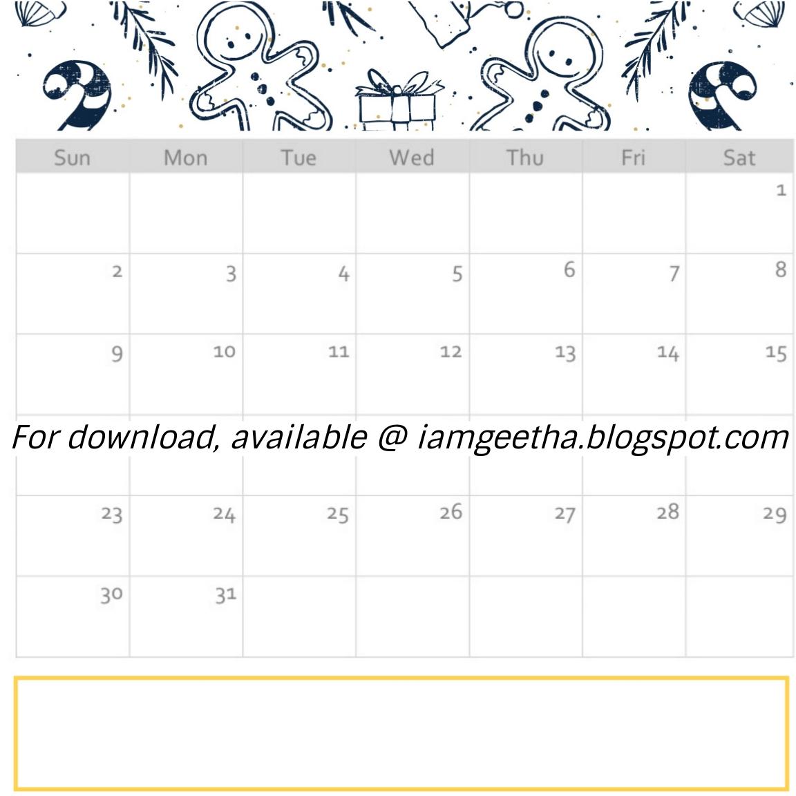 Iamgeetha Printables Planner Free Printable December Calendar