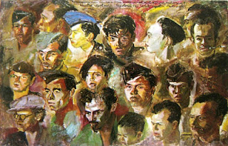 """Kawan-kawan revolusi"" by S.Sudjojono, Medium: oil on canvas, Size: 95cm x 149cm *) Koleksi Bung Karno"