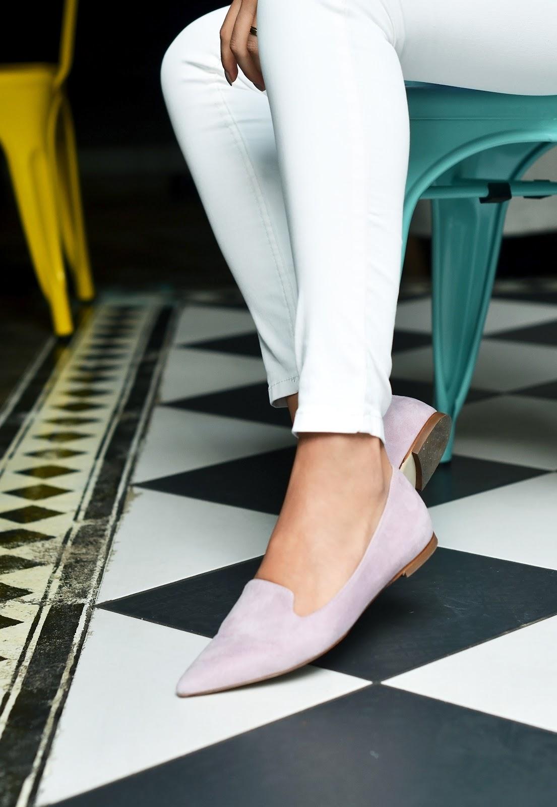 rozowe mokasyny | skorzane buty