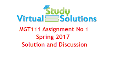 MGT111 Assignment No 1 Solution Spring 2017