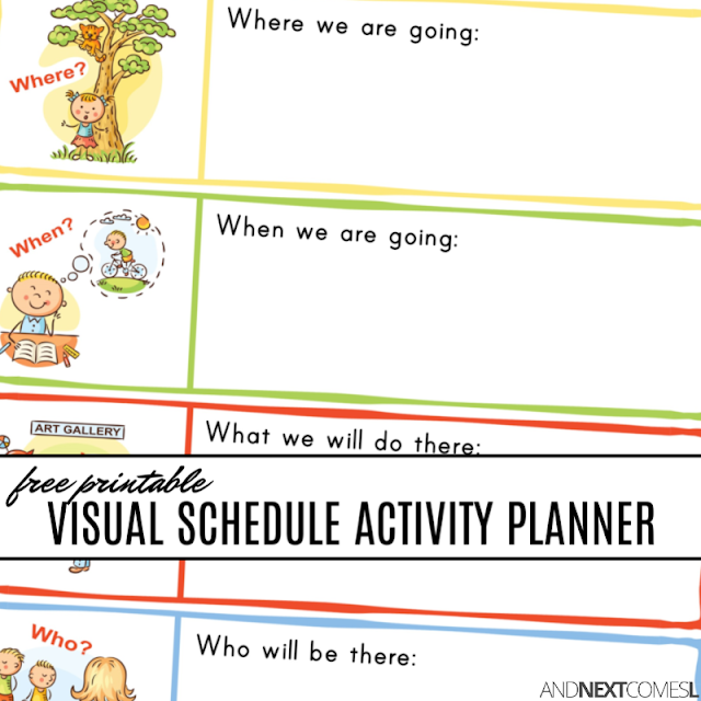 Free printable visual schedule activity planner for kids
