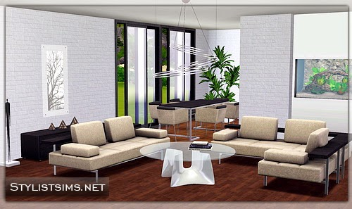 Emma 39 s simposium 5 modern room sets by stylist sims 110 for Living room ideas sims 3