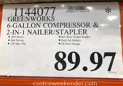 Deal for the Greenworks 6-gallon Air Compressor Combo Kit at Costco