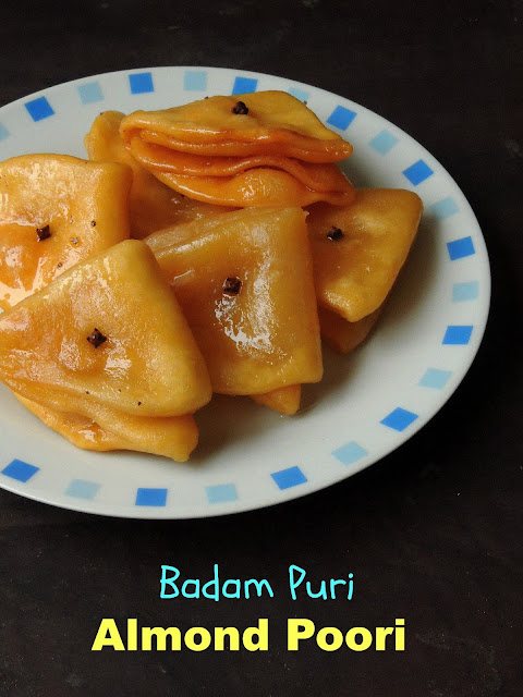 Sweet almond puri, badam poori