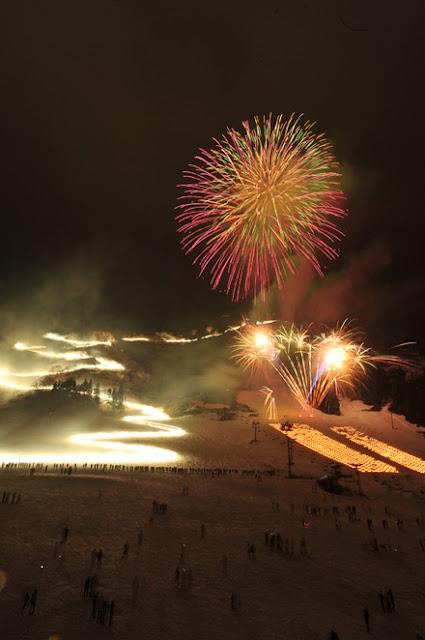 Snow Festival with Fire Works at Yuzawa Onsen Ski Trail, Niigata Pref.