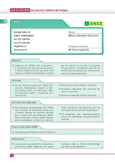 Xarxa de Suport a les Famílies Cuidadores de Tarragona: ONCE
