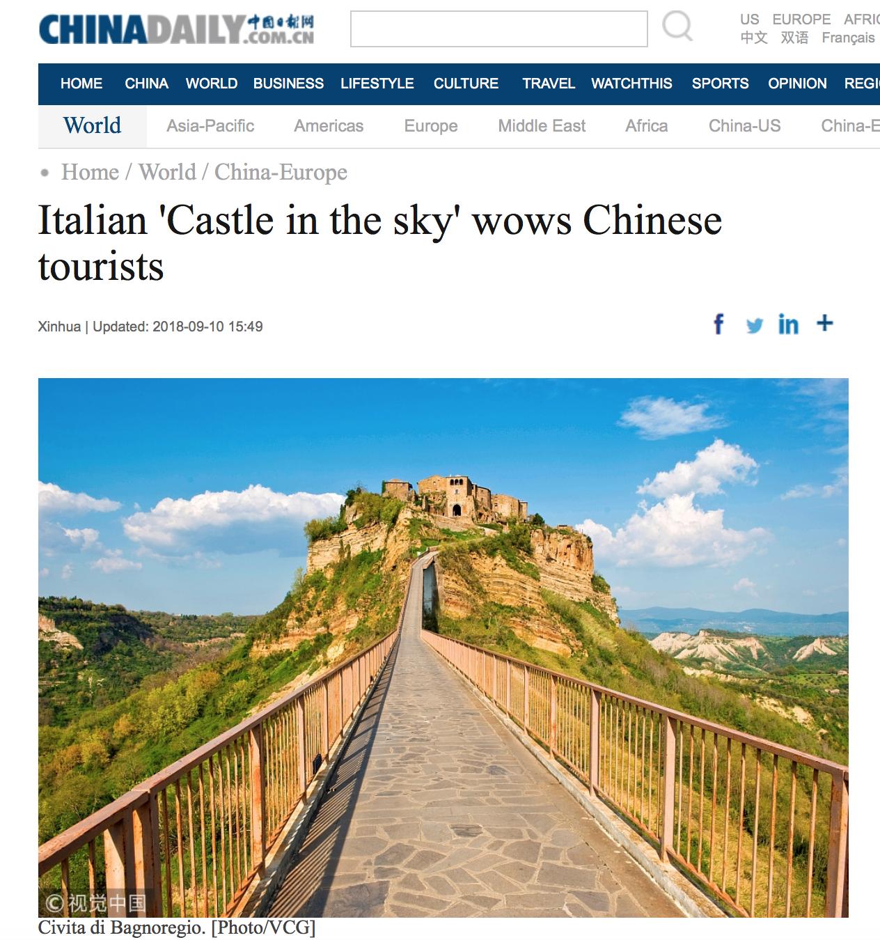 Turismo Cinese Civita di Bagnoregio un altro borgo
