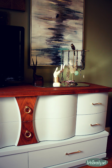 mid century mod basset bow front dresser mcm general finishes seagul gray painted makeover boho chic bohemain eclectic