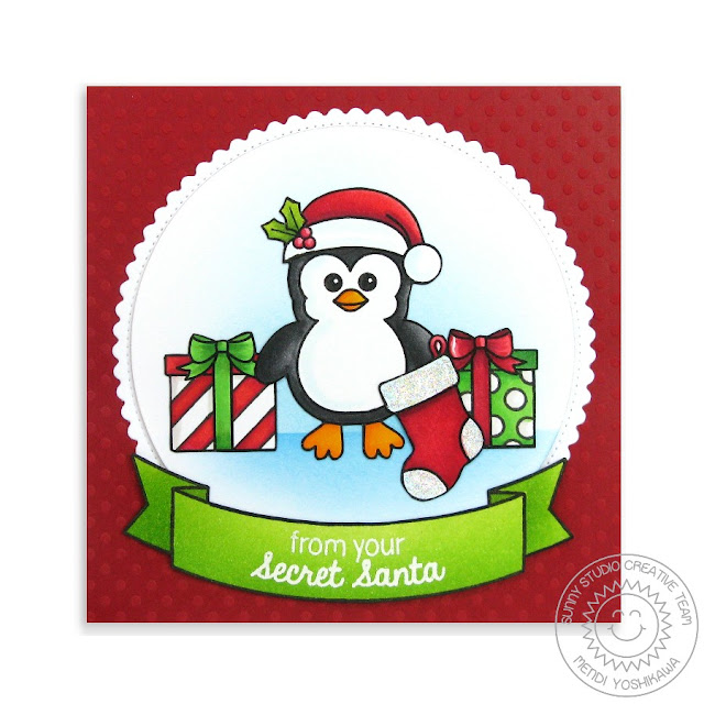 Sunny Studio Stamps: Penguin Secret Santa Card by Mendi Yoshikawa (using Christmas Icons & Bundled Up)