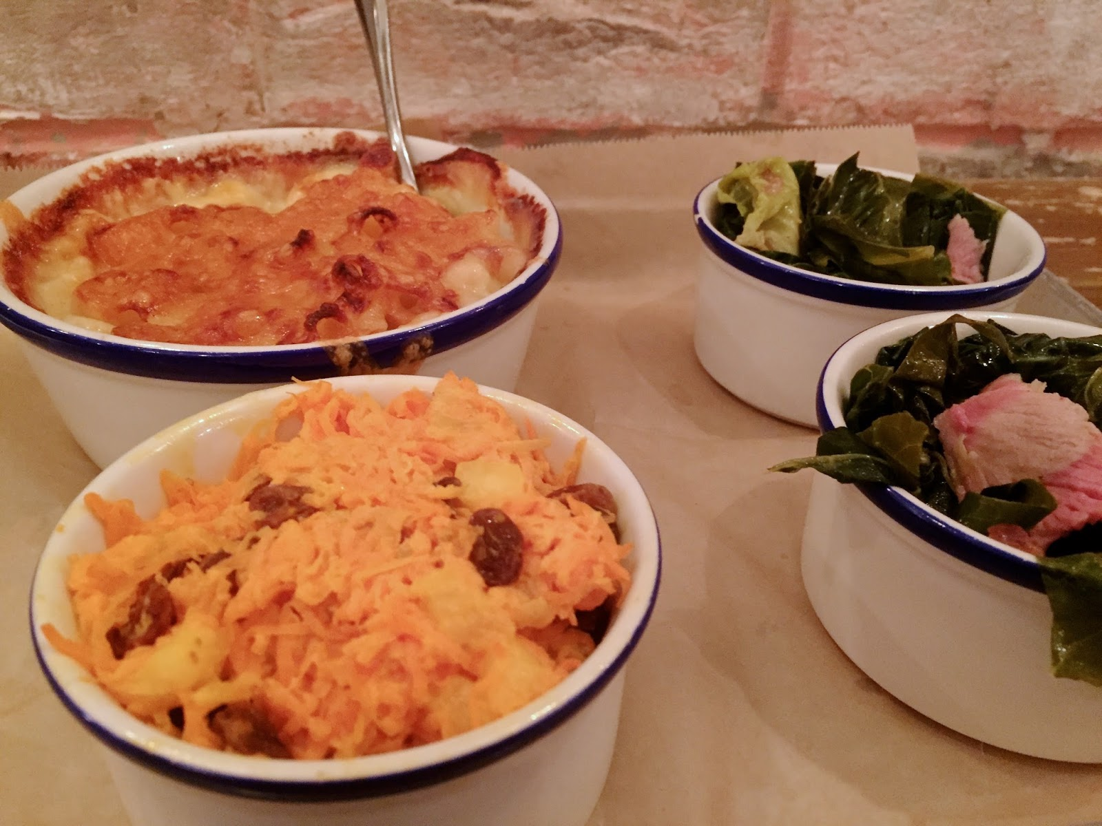 Macaroni & cheese, carrot salad and southern greens
