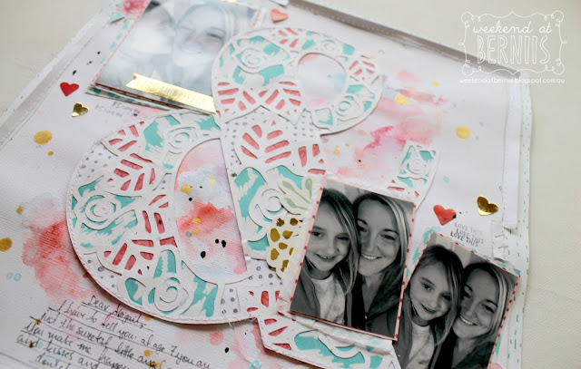 """ & Happy"" layout for Scrapping Clearly using the Crush collection by We R Memory Keepers and Neat N Crafty cut file."