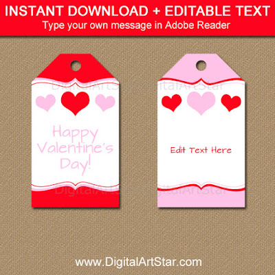 printable Valentine favor tags in pink and red
