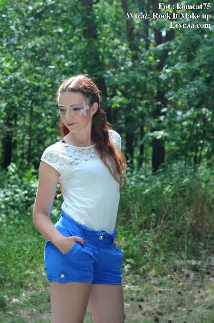15.07.2017 Niebieskie spodenki, biała koszulka z koronką, czarne szpilki platformy, Fantasy Make-up, Górka Cyranowska Mielec