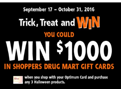 Shoppers Drug Mart Trick, Treat & Win $1000 Gift Card