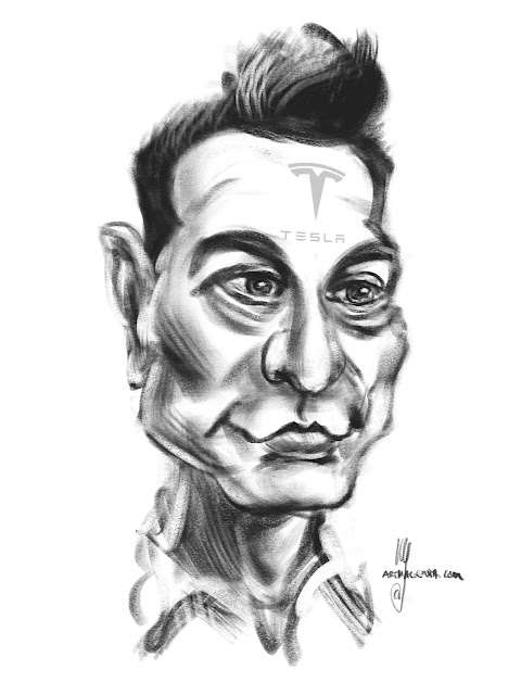 Elon Musk caricature by Artmagenta