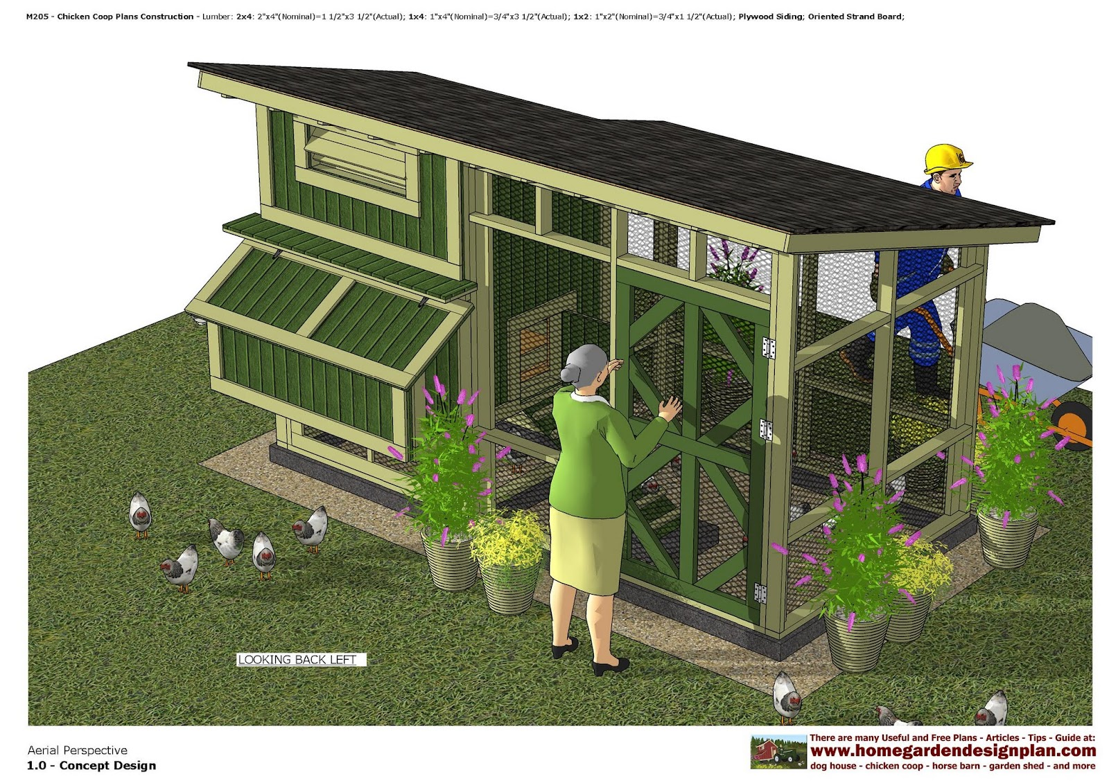 home garden plans m205 chicken coop plans construction. Black Bedroom Furniture Sets. Home Design Ideas