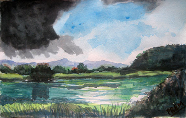 Watercolor Art of Lakeside Landscape