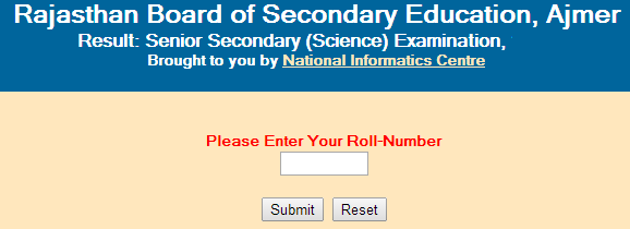 Rajasthan Senior Secondary/12th (Science) 2015 Result