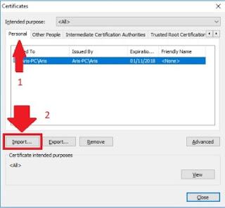 Klik Import, Cara import sertifikat elektronik pajak