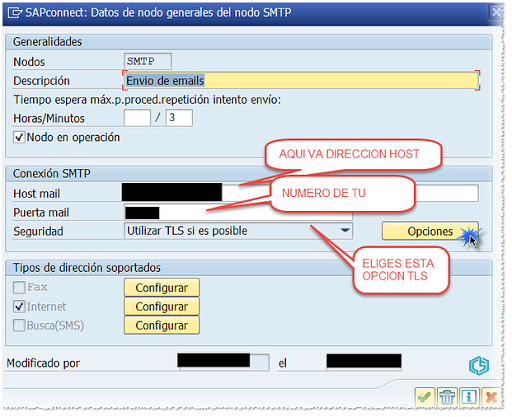 SAP Connect Configuración SMTP SSL - Consultoria-sap