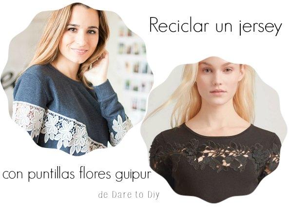 Camiseta con puntilla de encaje de flores de guipur
