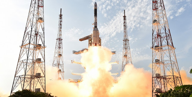 GSLV-F05 carrying INSAT-3DR lifts off from the Satish Dhawan Space Centre in Sriharikota. Credit: ISRO