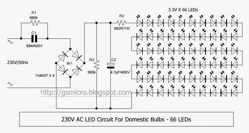 230v Ac Led Circuit Gsmicro