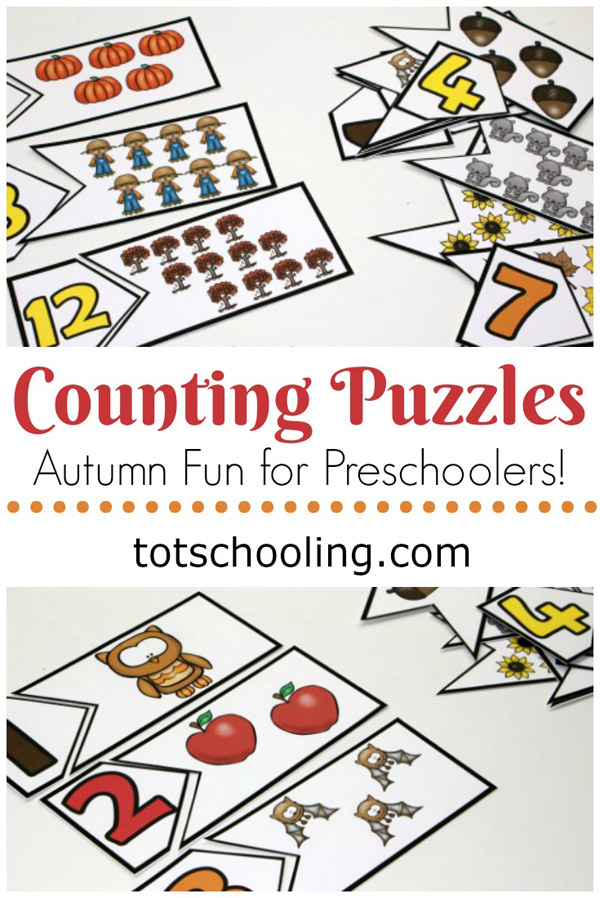 FREE printable counting puzzles with a Fall theme to help preschoolers practice number recognition, counting and one to one correspondence. Great for a Fall or Autumn preschool or kindergarten math center!