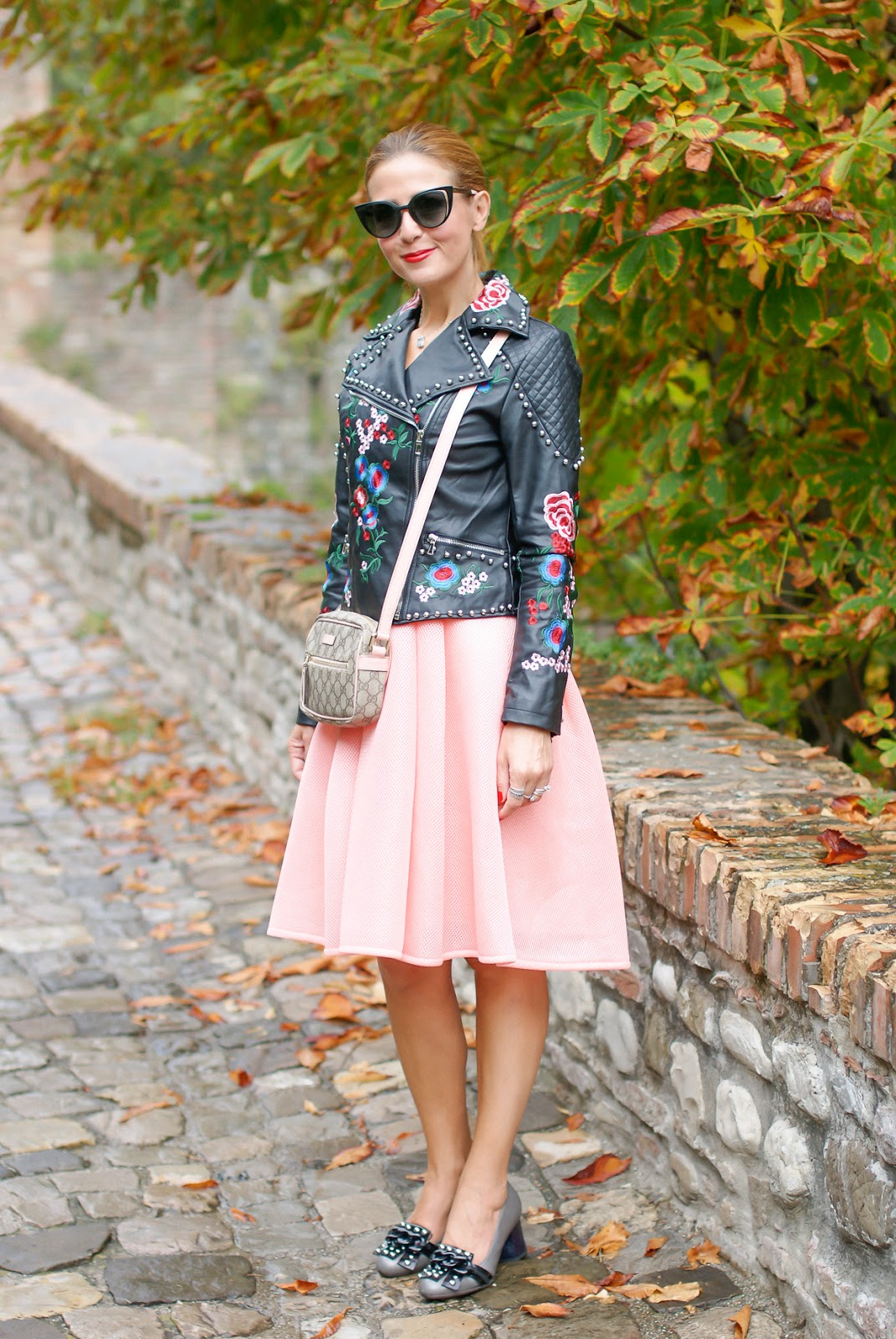 Embroidered faux leather biker jacket and studded loafers on Fashion and Cookies fashion blog, fashion blogger style